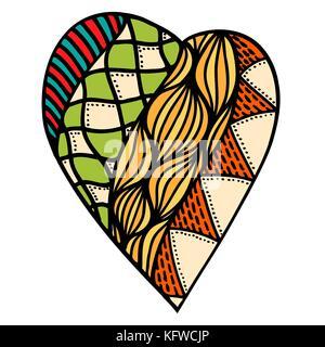 Valentine Herz im floralen Stil. Handzeichnung doodle Vector Illustration - Stockfoto