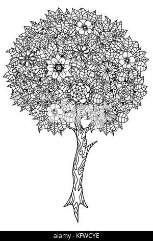 Florale Elemente und Blätter für Malbuch. Anti-stress-Färbung für ...