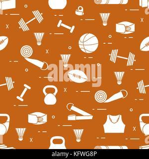 Muster mit Sportgeräte. gesunde Lebensweise. Design für Banner und Drucken. - Stockfoto