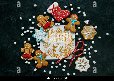 Frohe Weihnachten und guten Rutsch ins neue Jahr Grußkarte - Stockfoto