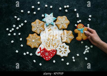 Lebkuchen mit Weihnachten Karte - Stockfoto