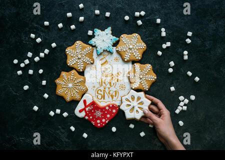 Lebkuchen mit Weihnachten Grußkarte - Stockfoto