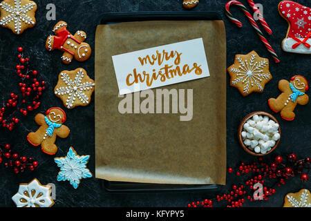 Weihnachten Karte auf Backblech - Stockfoto