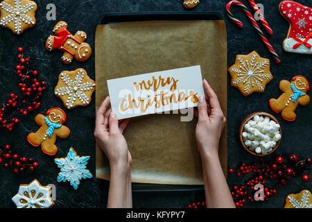 Weihnachten Lebkuchen und Grußkarte - Stockfoto