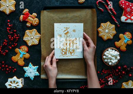 Lassen Sie es schneien Grußkarte - Stockfoto