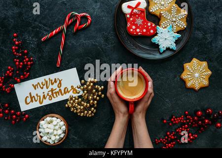 Weihnachten Lebkuchen und Kaffee - Stockfoto