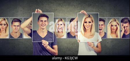 Ausgewogenes Verhältnis Konzept. maskierter Mann und Frau unterschiedliche Emotionen ausdrücken - Stockfoto