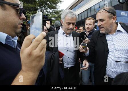 Madrid, Spanien. 3. november 2017. Manchester United Football Trainer Jose Mourinho verlässt Pozuelo de Alarcon - Stockfoto