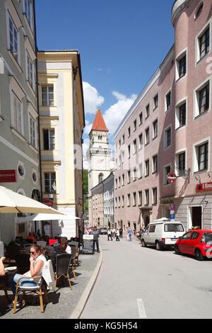 Schottgasse (Straße), barocke Fassaden, Altstadt, Passau, Niederbayern, Bayern, Deutschland, Europa, - Stockfoto