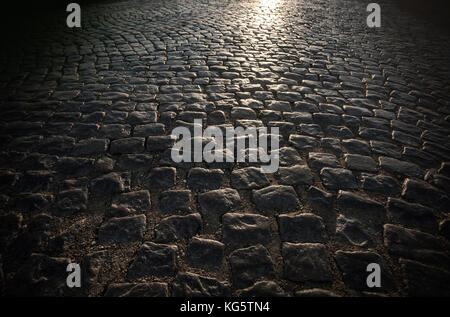 Granit Pflastersteine von Block pavement Hintergrund - Stockfoto