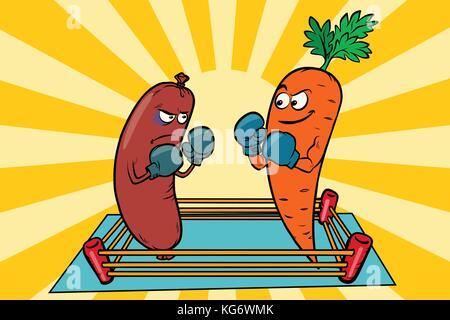 Vegetarismus vs Fleisch essen, Krieg der Diäten., Wurst und Möhren. Comic cartoon Pop Art Illustration retro Vektor - Stockfoto