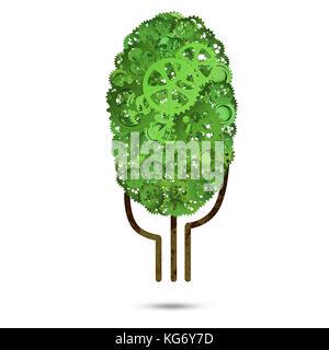 Grüner Baum aus Getriebe und Zahnräder auf weißem Hintergrund - Stockfoto