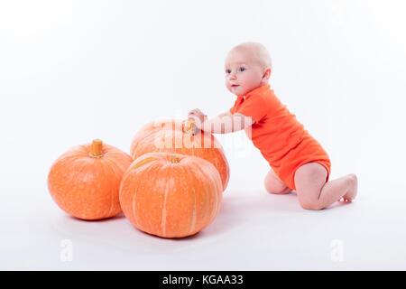 Baby in orange T-Shirt auf einem weißen Hintergrund sitzt neben pumpki - Stockfoto
