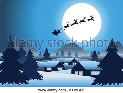 weihnachtsmann schlitten weihnachtsszene von santa fliegen auf seinem schlitten gezogen von. Black Bedroom Furniture Sets. Home Design Ideas