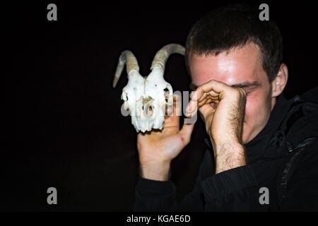 Der Schädel von der Ziege in der Hand - Stockfoto