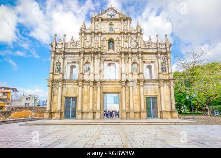 Ruinen von St. Paul's in Macau, China - Stockfoto