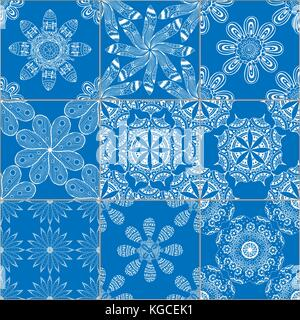 Mega schöne Nahtlose patchwork Muster aus dunklen Blau und Weiß marokkanische, portugiesischen Kacheln, Azulejo, - Stockfoto