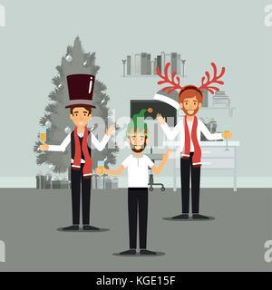 eine vektor illustration der familie weihnachten zu feiern an einem verschneiten tag vektor. Black Bedroom Furniture Sets. Home Design Ideas