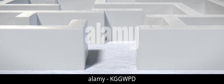Weiß Labyrinth Struktur mit Eingang an der Vorderseite (3d-Grafik Banner) - Stockfoto