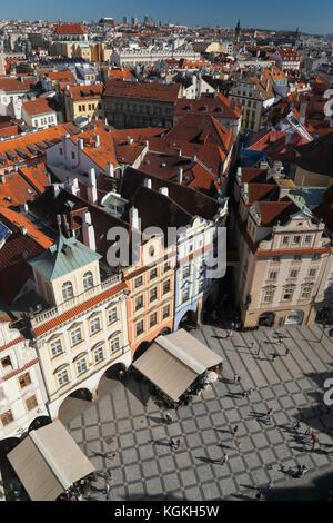 Blick vom Alten Rathaus turm auf die Altstadt, das historische Zentrum, Prag, Tschechische Republik - Stockfoto