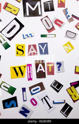 Ein Wort Schreiben von Text, Konzept der sagen welche Frage aus verschiedenen Magazin Zeitung schreiben für Business - Stockfoto