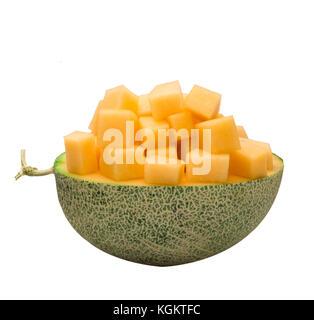 Zuckermelone Schichten auf weißem Hintergrund - Stockfoto