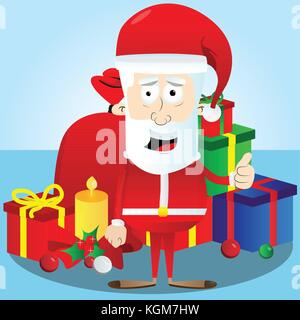 "Santa claus Charakter mit ""Daumen hoch"" Geste. Vektor Cartoon Illustration. - Stockfoto"