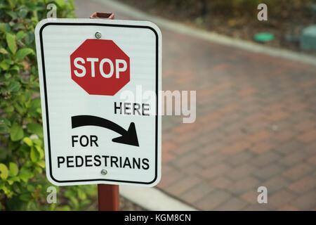Halten Sie hier für pedistrians Schild an der Straße - Stockfoto