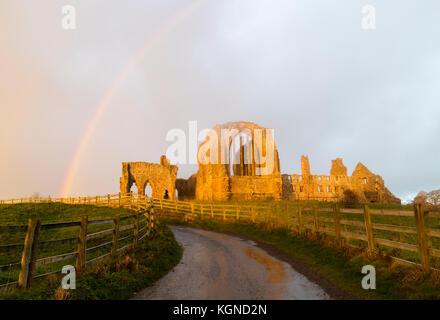 Egglestone Abbey, Barnard Castle, Teesdale, County Durham, UK. Donnerstag, 9. November 2017. UK Wetter. Kräftige - Stockfoto