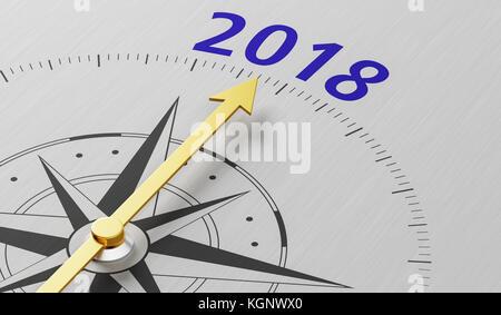 Kompass Nadel nach dem Text 2018 - Stockfoto