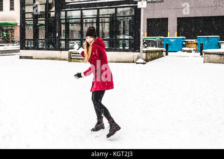Foto von Downtown Vancouver BC abgedeckt im Schnee, Kanada - Stockfoto
