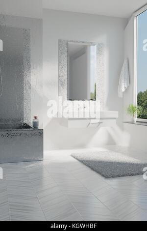 Modernes, Helles Badezimmer Innenarchitektur; 3D Rendering Von Luxus Weißes  Badezimmer Mit Mosaikfliesen   Stockfoto