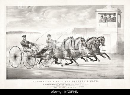 Alte Illustration eines trabenden Pferd wagen. Von Cameron, Publ, in New York, Ca. 1870 - Stockfoto