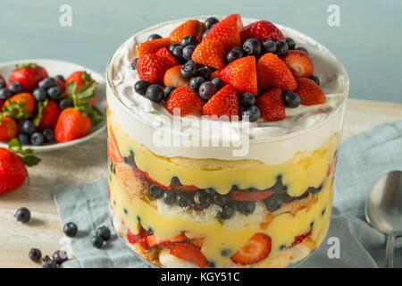 Süßes hausgemachtes Erdbeer trifle Dessert mit Pudding und Kuchen - Stockfoto