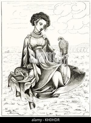Alte Abbildung zeigt junge Adlige in der Charles VI Alter. Nach Willemin, Publ. Auf Magasin Pittoresque, Paris, - Stockfoto