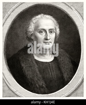 Alte büste Porträt von Christoph Kolumbus (1451 - 1506), italienischer Explorer und Navigator. Von unbekannter Autor, - Stockfoto