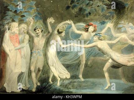 Oberon und Titania und Puck mit Feen tanzen ca. 1786, William Blake - Stockfoto