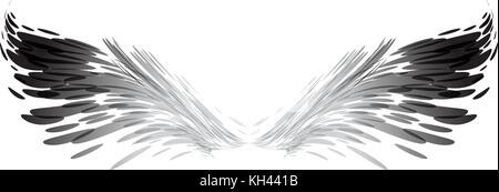 Abstrakte Flügel, Schwarz und Weiß, Vektor, Abbildung auf weißem Hintergrund - Stockfoto