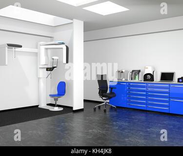 Zahnmedizinische Klinik Interieur mit Con-ct und Cadcam System. 3D-Bild. - Stockfoto