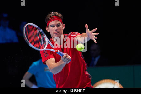 London, Großbritannien. 13 Nov, 2017 Dominic Thiem, aut in Aktion Vorhand dominic Thiem, aut - grigor Dimitrov, - Stockfoto
