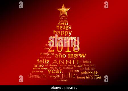 2018 Neues Jahr mehrsprachiger Text word cloud Grußkarte in der Form eines Weihnachtsbaumes - Stockfoto