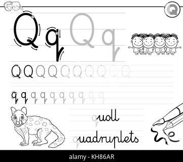 Buchstaben q mit Vierlinge illustration Stockfoto, Bild: 103060994 ...