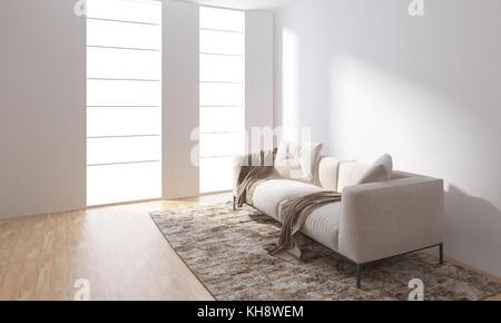 Helles Zimmer Mit Leeren Weißen Wänden Und Einem Ständigen Auf Dem Teppich    Stockfoto