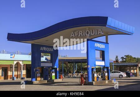 Tankstelle von akwa Group betrieben, einem marokkanischen Unternehmen mit Sitz in Casablanca. Seine Tankstellen - Stockfoto