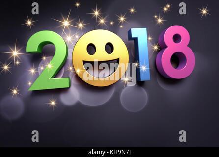 Frohes neues Jahr Datum 2018 und lächelndes Gesicht, glitzernden auf schwarzem Hintergrund - 3D-Darstellung - Stockfoto