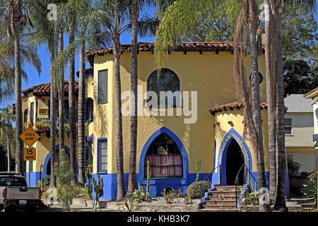 Außenansicht des Hauses in Los Feliz, Los Angeles, Kalifornien, USA KATHY DEWITT - Stockfoto