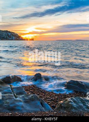 Alum Bay Sonnenuntergang - Stockfoto