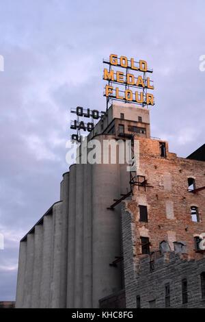 Historische Goldmedaille Mühle, Minneapolis, MN - Stockfoto