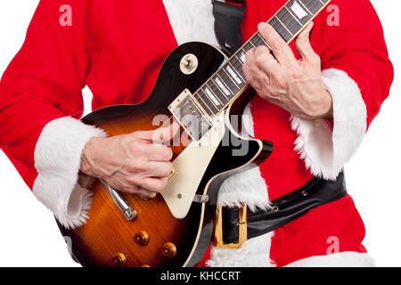 weihnachtsmann spielen eine rote e bass gitarre auf wei em. Black Bedroom Furniture Sets. Home Design Ideas
