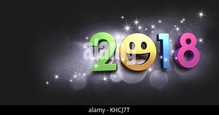 Frohes neues Jahr Datum 2018 mit einem lächelnden Gesicht, auf einem glitzernden schwarzen Hintergrund - 3 Abbildung - Stockfoto